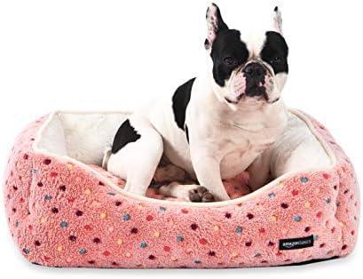 Amazon Basics Cuddler Bolster Pet Bed, Pink Polka Dots