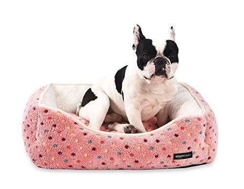 Amazon Basics Cama para mascotas, tamaño mediano, de color rosa con lunares