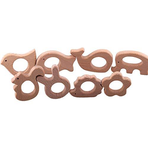 8 Stücke Holz Beißring Natur Buche Kinderkrankheiten Relief Spielzeug DIY Armband Halskette Kinderkrankheiten Schmuck Zubehör für Baby Kleinkinder