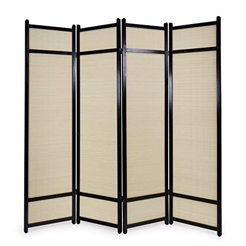 Homestyle4u 386, Paravent Raumteiler 4 teilig, Bambus Holz, Schwarz Natur