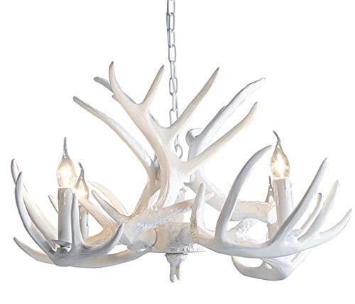 Resina Creativa de la asta de la lámpara, Cuerno de Ciervo Estilo Antiguo luz de Techo de la luz Pendiente de la luz para la Sala de Estar, Comedor, Balcón Bar y lámpara Colgante Cafe,4heads