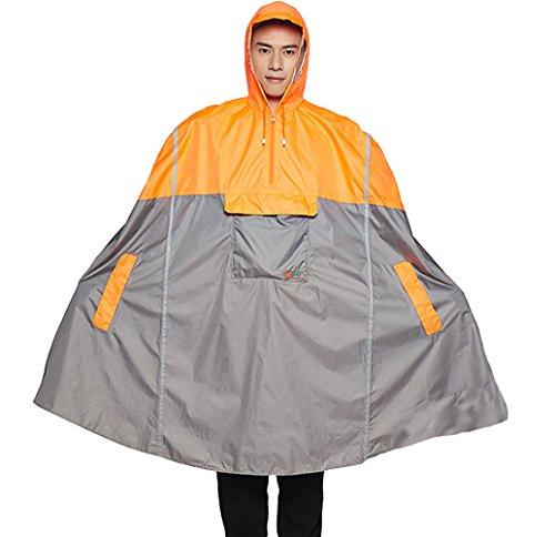 Icegrey Adulte Pluie de Poncho Unisexe Vêtements Imperméables Urgence avec Assortis Pouch Long Réfléchissant Rayures Orange