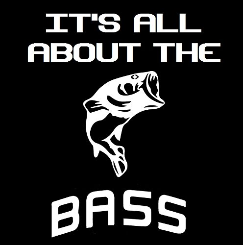 UR Impressions Bass Fishing It's All About The Bass Decal Vinyl Sticker Graphics for Cars Trucks SUV Vans Boats Walls Windows Laptop|White|5.5 Inch|URI101