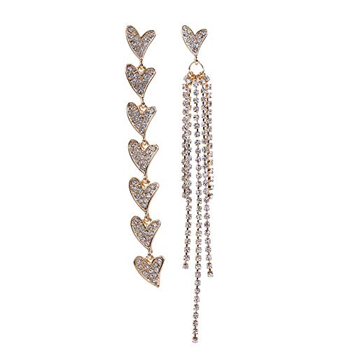 SONGAI Asymmetric Heart Full Diamond Rhinestone Long Tassel Dangle Stud Earrings Women Jewelry Party,Colour Name:Silver Bracelets Earrings Rings Necklaces (Color : Golden)
