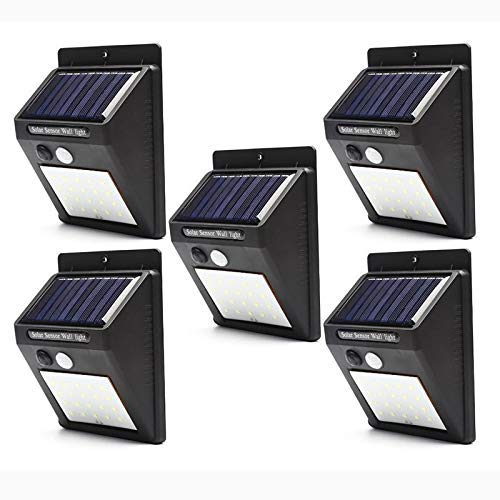 Luminaria Solar Parede 30 Leds Sensor de movimento Energia Lampada kit 5 unid luz externa