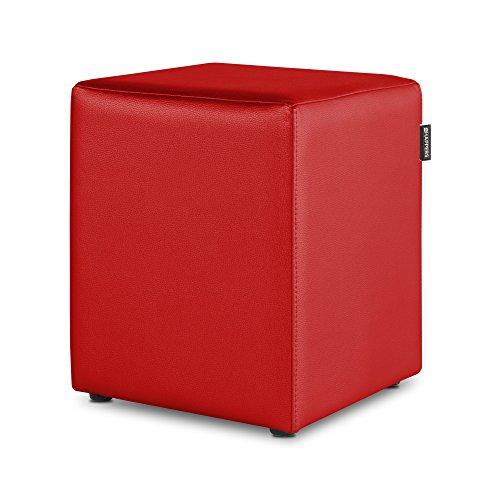HAPPERS Puff Cubo Polipiel para Salón o Dormitorio Rojo