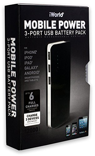 Mobile Power by iWorld 12,000mAh Power Bank with 3 USB Ports