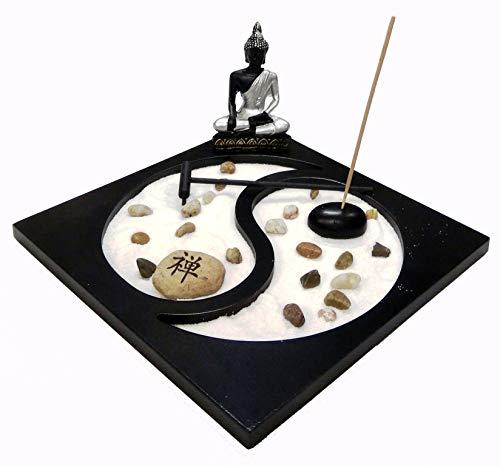 ICT Giardino Zen da Tavolo Statua Buddha Portacandelina Bruciatore per Incenso Decorazione Asiatica e Ambiente