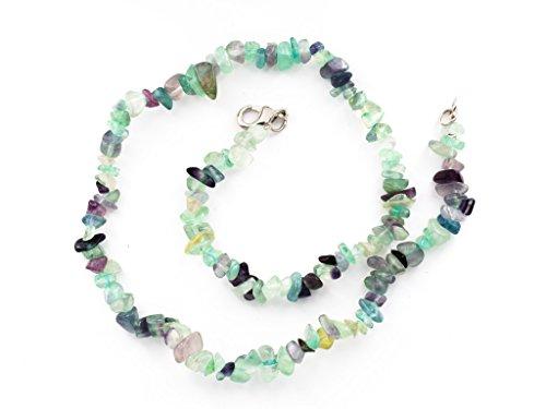 Taddart Minerals - Bunte Splitter Halskette aus dem natürlichen Edelstein Fluorit mit 45 cm Länge - handgefertigt