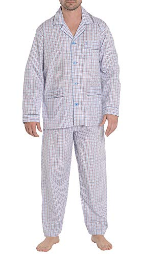 El Búho Nocturno Pijama de Caballero de Manga Larga clásico a Cuadros de Tela popelín de algodón para Hombre L Celeste