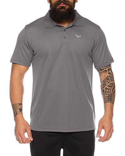 Raff & Taff Polo Shirt Fitness Shirt hochwertiges Atmungaktives Funktionsshirt T-Shirt Freizeit Shirt (Anthrazit, 3XL)