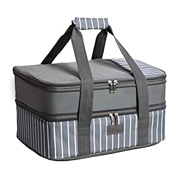 FE Casserole Carrier Expandable Insulated Casserole Carriers for Hot or Cold Food Lasagna Lugger for Parties Fits 9  x 13  Baking Dish Grey