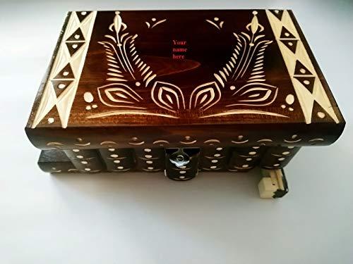 Caja puzzle nuevo grande marrón personalizable caja de joyas ...