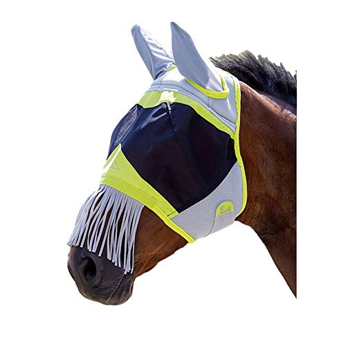 Shires Air Motion Fliegenmaske für Pferde, Pony, mit Ohren und Fransen, Limettengrün