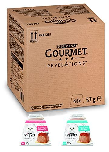 PURINA GOURMET Revelations Mousse, Katzenfutter nass in Sauce, Lachs & Thunfisch, 48er Pack (48 x 57g)