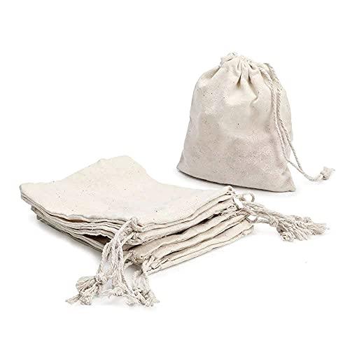 RUBY - 48 Bolsas de algodón con cordón Ajustable, Bolsa de Regalo, Bolsas de Tela Manualidades, Bolsa de Tela para Pintar, Bolsa de cumpleaños (Talla M)