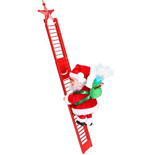 E-More Santa Climbing Rope Ladder, Juguete eléctrico de la Que Sube de Papá Noel,Campanas Musicales eléctricas Escalera de Escalada Juguete de Papá Noel, Juguete de Adorno de estatuilla