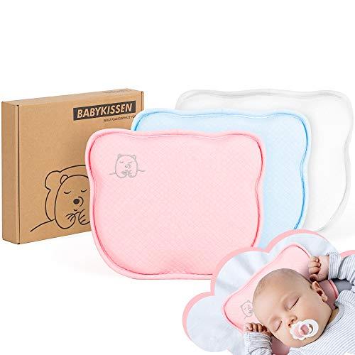 Tampen Almohada para bebé, previene la cabeza plana, fundas de almohada intercambiables, cojín ortopédico antiplacas, contra plagiocefalia (síndrome de cabeza plana), color blanco