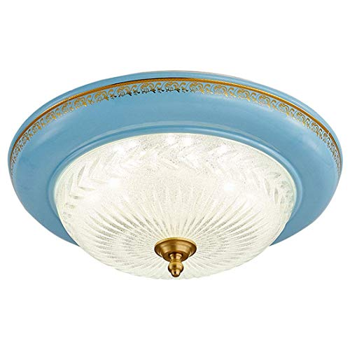 ZZXXMM Deckenlampe Rundbett Beleuchtung, Kupfer LED Wohnzimmer Balkon Balkon Retro-Verorleisanbeleuchtung Beleuchtung,L