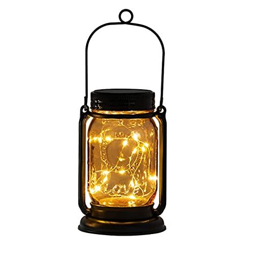 Qirun Luces solares al Aire Libre Decorativo E-Kong Colgante Linterna de jardín Solar Luces de Tarro de masón con Luces LED de Cadena Diseño Retro