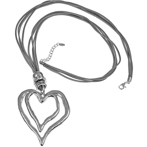 Großer Silber-Anhänger in Herzform mit Zirkonia, mit Wildlederkette