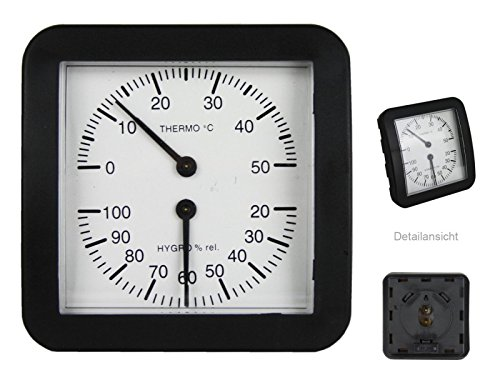 Koch Hygrometer Kombi, schwarz, 9,5 x 3 x 9 cm, 17000