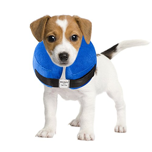 BENCMATE Protective Inflatable Collar for Dogs and Cats - Soft Pet Recovery Collar Does Not Block Vision E-Collar (Small, Blue)