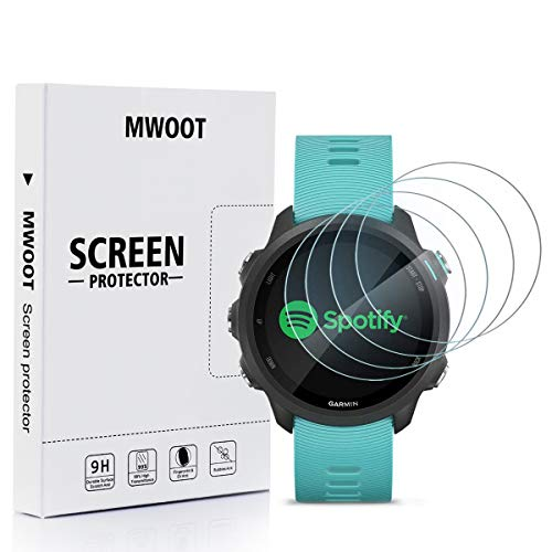 MWOOT Cristal Templado Compatible con Reloj Garmin Forerunner 45 45S 245 245 Music/Garmin Approach S60 S40(4 Unidades), Protector Pantalla Vidrio Proteccion 9H Pelicula Anti-arañazos para Smartwatch