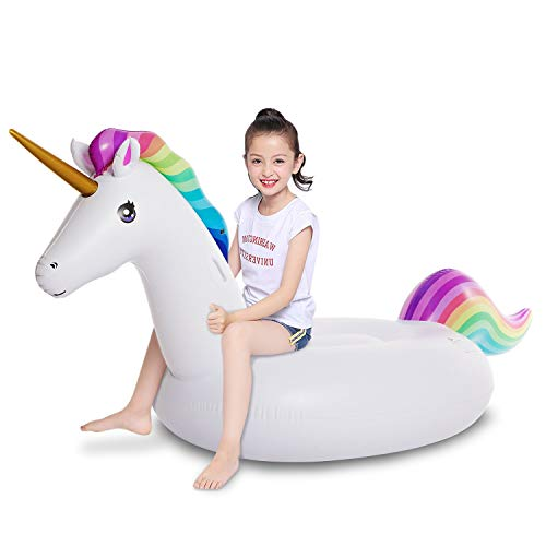 Product Image of the Jasonwell Big Inflatable Unicorn Pool Float Floatie Ride On with Fast Valves...