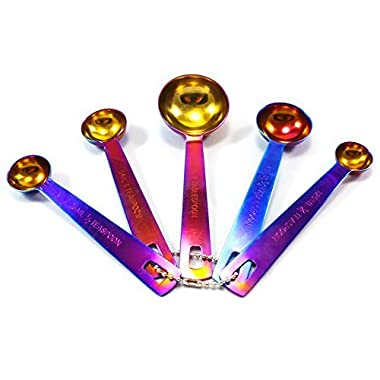 Great Spirit Wares Iridescent Multicolor Measuring Spoons 5-Piece Set Stainless Steel