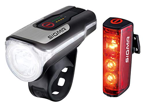 SIGMA SPORT - LED Fahrradlicht Set Aura 80 und BLAZE | StVZO zugelassenes, akkubetriebenes Vorderlicht und Rücklicht mit Bremsfunktion
