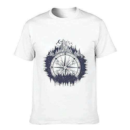Camiseta de algodón para hombre, brújula de montaña, luna, estilo náutico
