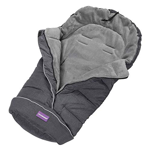Clevamama Universal Footmuff for Pushchair, Pram, Stroller and Buggy, Thermo Fleece and Waterproof, Extra Long for Baby and Toddler - Grey, 96x98 cm