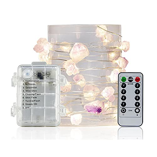 CGBF-Luces de Cadena de Cristal de Amatista de 16 Pies y 50 LED,Guirnaldas Luces de Fluorita Natural con Control Remoto de 8 Modos con Pilas,Luces de Piedra Brillante para Decoración