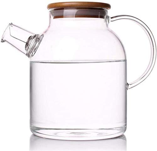 Tetera de cristal de 1,6 l/l, hervidor de agua de cristal resistente al calor, jarra de agua artesanal, tetera de gran capacidad, botella de agua fría, antifugas, lado con tapa, juego de té