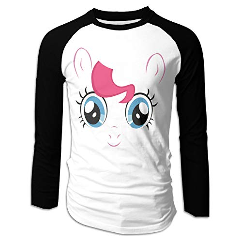 WoodWorths My Little Pony Pinkie Pie Big Face Camiseta de Manga Larga para Hombre Camiseta de Fitness Contraste