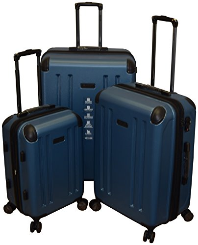 Kenneth Cole Reaction 8 Wheelin Collection Lightweight 3-PC Expandable Hardside Spinner Luggage Set (Blue)