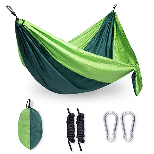 Camping Hammock Double & Single Portable Travel Hammock with 2 Tree Straps and Carabiners, Lightweight Parachute Nylon Hammocks for Outside, Backyard, Hiking, Backpacking, Travel-Green