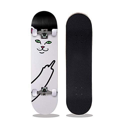 KHSKX Komplettes Skateboard, 7-lagiges Ahorndeck, ABEC-7-Lager, geeignet für Profis und Anfänger-TV-Katzen-Upgrade