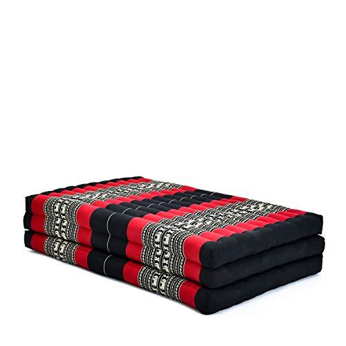 Leewadee Klappmatratze Gästebett Klappbar Auto Matratze Gästematratze Klappbar Faltbare Matratze Extrabreit, 200x105x8 cm, Kapok, rot schwarz