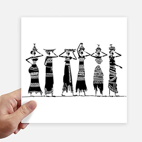 DIYthinker Afrique Primitive Robes autochtones Noir Totems Autocollant carré de 20 cm Mur Valise pour Ordinateur Portable Motobike Decal 4Pcs 20cm x 20cm Multicolor