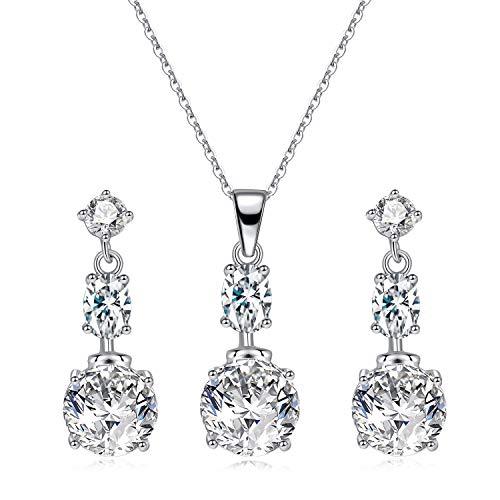 Collar con Colgante Pendientes Colgantes Cristal Plata Mujeres Conjunto de Joyas Boda