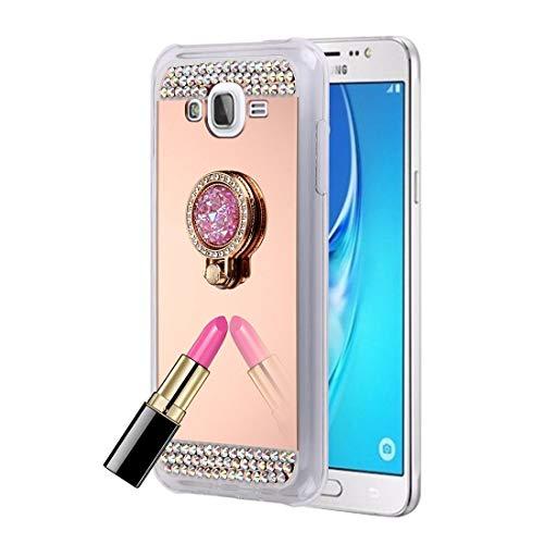 GUODONG Carcasa de telefono For la Cubierta del Caso Galaxy J7 / J700 con Incrustaciones de Diamantes de galvanoplastia Espejo de protección con Soporte Oculto Funda Trasera para Smartphone