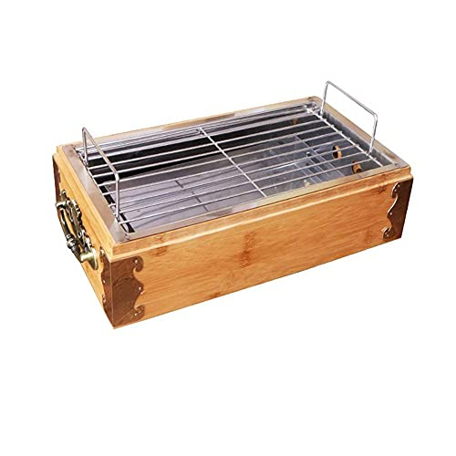 FHISD Mini Table Top Bamboo Outdoor Portable Charcoal Grill New Home Small BBQ Grill