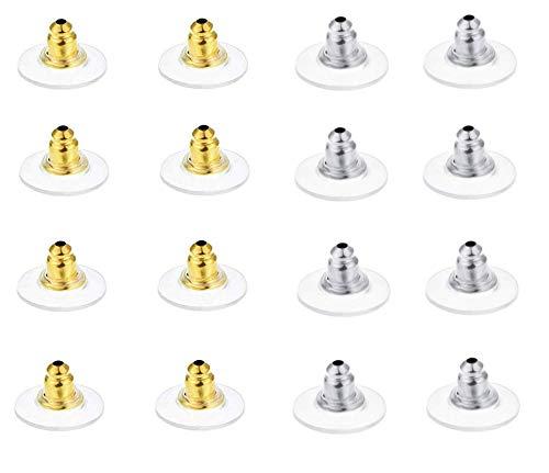 LASSUM 200 piezas de tuercas para pendientes, kit de seguridad, cierre para pendientes de tipo bala con almohadillas de seguridad (oro y plata)