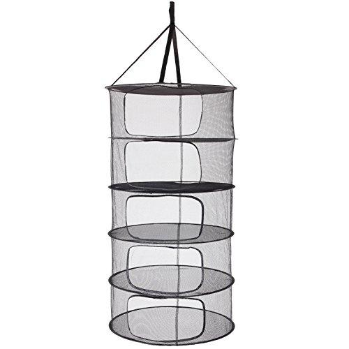 LABT Trocknungsnetz Drynet Grow Netz Trockennetz Hängetrockner Drying net zum Aufhängen mit Durchmesser 60 cm x 5 Fächern zusammenfaltbar