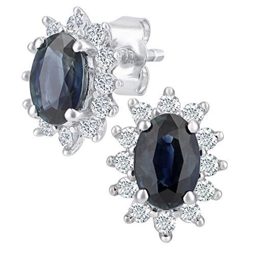 Naava Damen-Ohrstecker 375 Weißgold Saphir und Diamant 1,20 karat rund