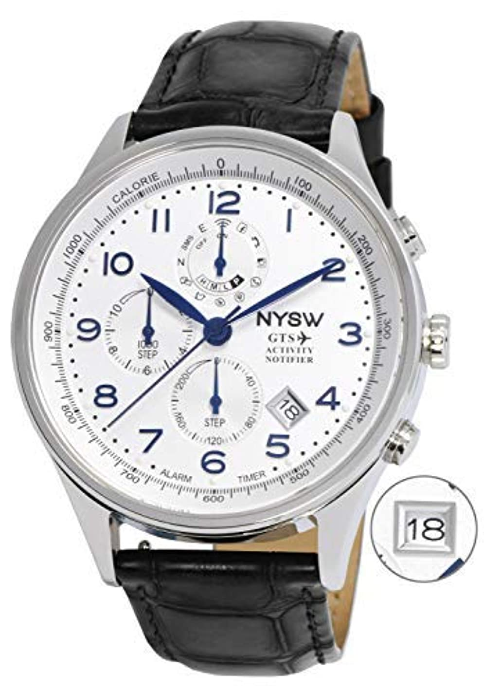 NYSW - World's 1st Hybrid Smartwatch for Men with Perpetual Calendar. This Luxury Fitness Tracker with Direct Steps Reading on Dial Advanced Discreet Haptic Vibration Notification SH-01-W
