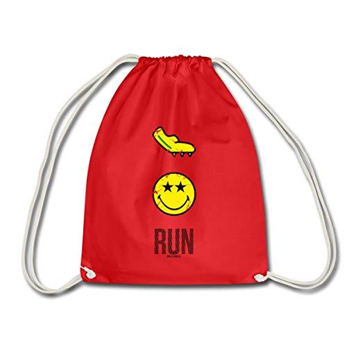 Spreadshirt Smiley World Run Joggen Laufschuh Spikes Turnbeutel, Rot