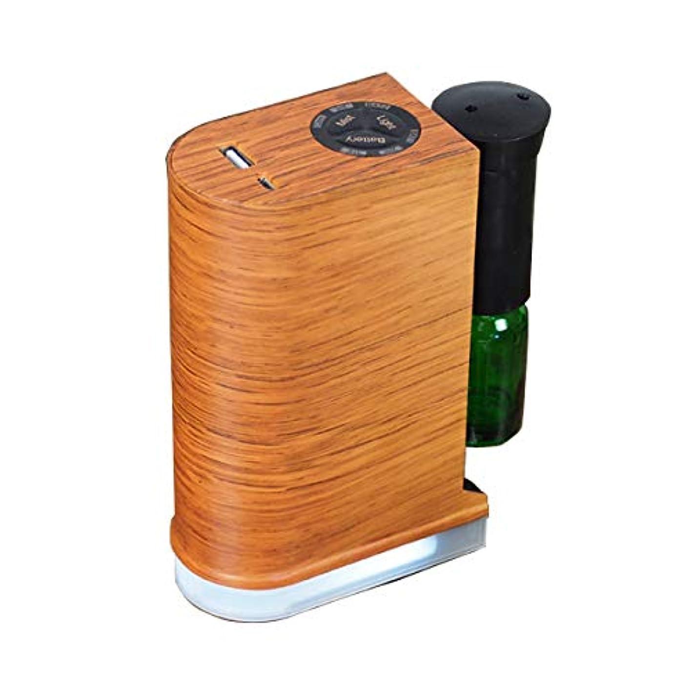 高架移行する薬アロマデュフューザー 水を使わない ネブライザー式アロマディフューザー LED搭載 アロマオイル 精油 アロマ芳香 (ブラウン)